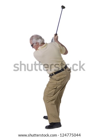 Portrait of a man about to hit a golf ball - stock photo
