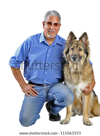 Portrait of a man and his dog isolated on white