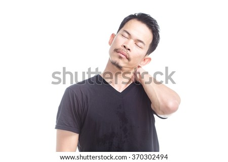 Portrait of a man asian feels sick  - stock photo