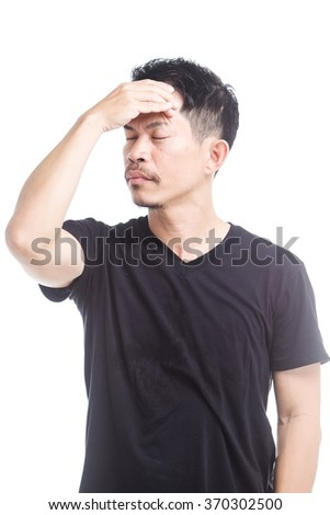 Portrait of a man asian feels sick  - stock photo