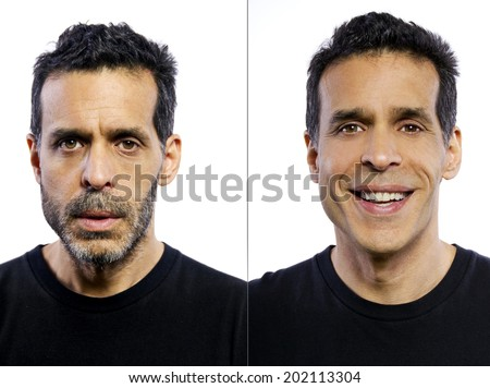 portrait of a man before and after being groomed - stock photo