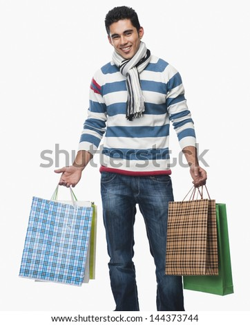 Portrait Man Carrying Shopping Bags Stock Photo 144373744 ...