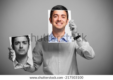 Portrait of a man changing his mood - stock photo