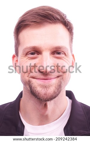 Portrait of a man expressing different emotions - stock photo