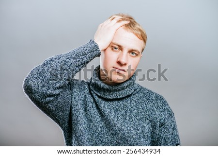 portrait of a man headache - stock photo