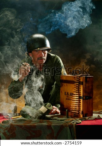 Portrait of a man in a military style 1 - stock photo