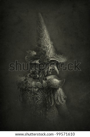 Portrait of a man in a surreal headdress - stock photo