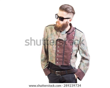 Portrait of a man in an unusual outfit. - stock photo