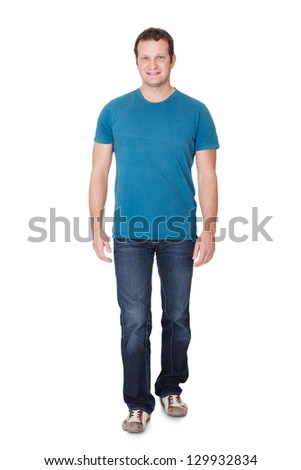 Portrait of a man in casual outfit. Isolated on white background - stock photo