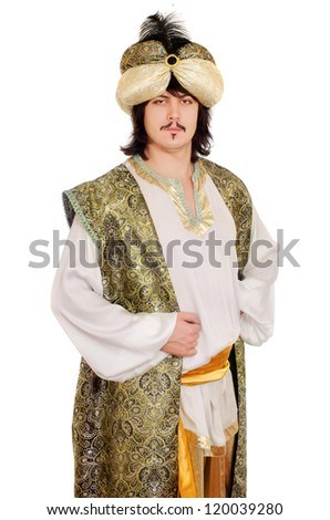 Portrait of a man in oriental costume - stock photo