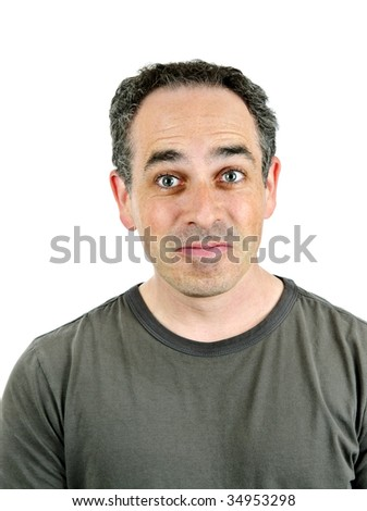 Portrait of a man making a silly face isolated on white background