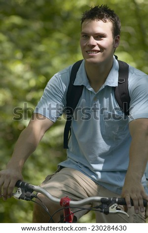 Portrait of a man on a bicycle