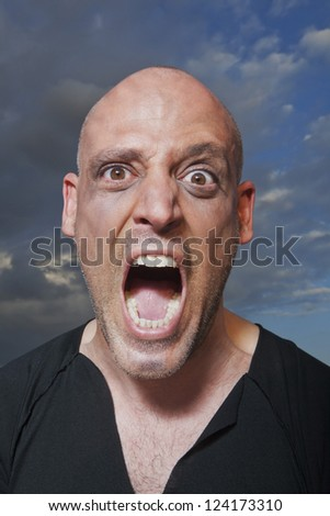 Portrait of a man shouting - stock photo