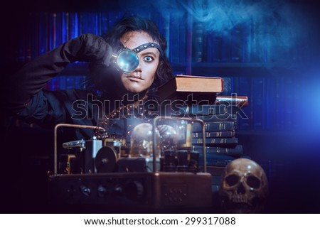 Portrait of a man steampunk in his research laboratory. Fantasy. - stock photo