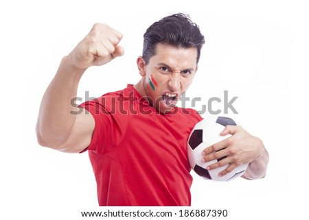 Portrait of a man supporting his team, isolated on white - stock photo