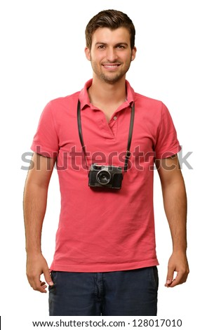 Portrait of a man wearing camera on white background