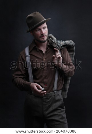 Portrait of a man with a coin - stock photo