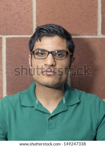 Portrait of a man with a stone face - stock photo