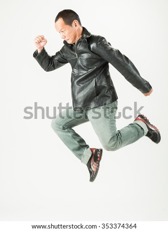 Portrait of a  man with leather jacket on white background