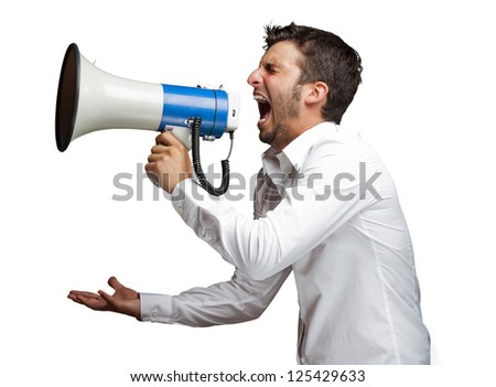 Portrait Of A Man Yelling Into A Megaphone Against White Background