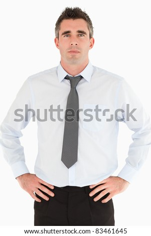 Portrait of a manager posing against a white background