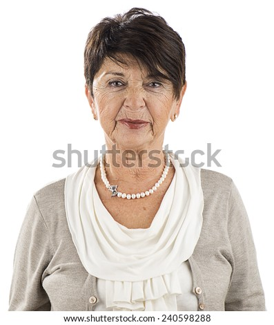 Portrait of a mature adult woman smiling isolated on white background. - stock photo