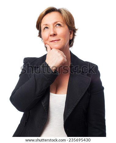 portrait of a mature business woman thinking about something - stock photo