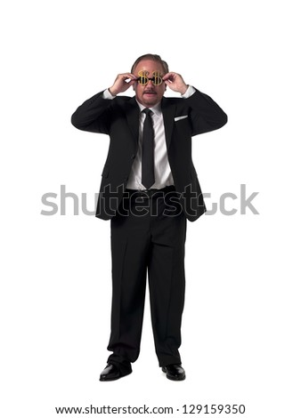 Portrait of a mature businessman with dollar sunglasses standing over white background