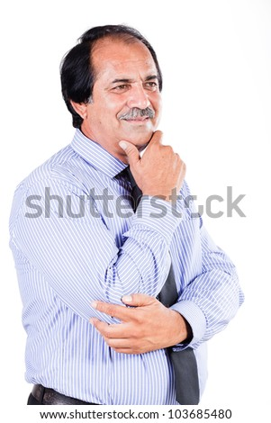 portrait of a mature confident businessman with his hand on  the chin, happy mature businessman isolated on the white