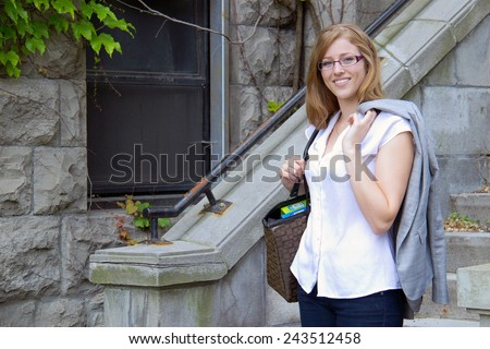 Portrait of a mature grad student on campus - stock photo