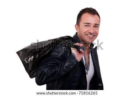 Portrait of a mature man with a handbag, isolated on white. Studio shot - stock photo