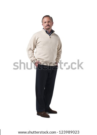 Portrait of a mature man with hands on hips against white background