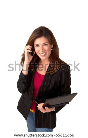 Portrait of a mature pretty businesswoman wearing red blouse and a black jacket.  Isolated on white background. She is talking on a cell phone and holding a clip board. - stock photo