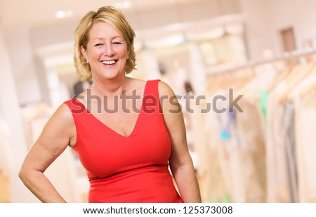 Portrait Of A Mature Woman, Indoors - stock photo