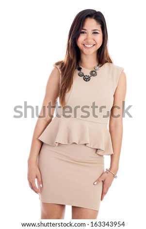 Portrait of a mid 20s Asian businesswoman wearing a dress isolated on a white background - stock photo