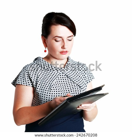 Portrait of a middle age business woman holding folder with files in her arms and looking at you with hope. Isolated on white background - stock photo