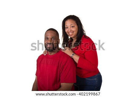 Portrait of a middle aged couple on white