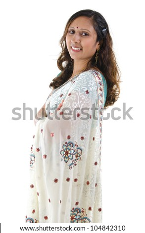 Portrait of a middle aged Indian woman isolated on white background - stock photo