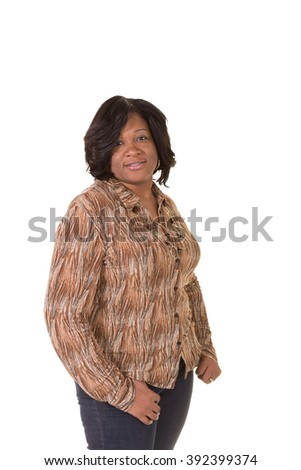 Portrait of a middle aged woman - stock photo
