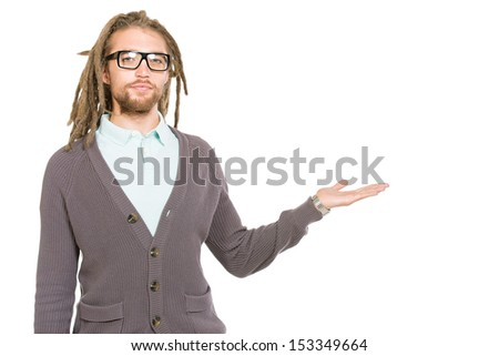 Portrait of a modern handsome young man in spectacles. Isolated over white.