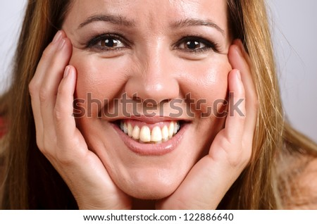 portrait of a modern woman smiling - stock photo