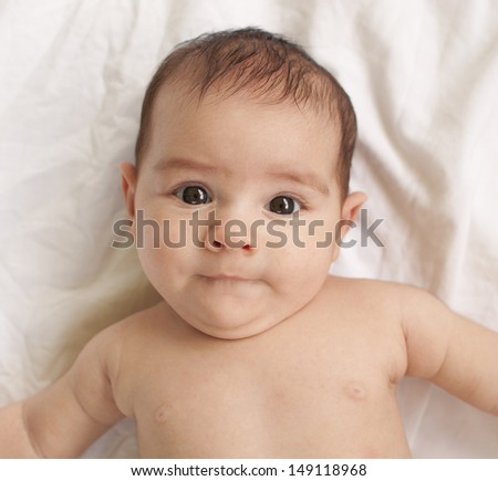 Portrait of a 2 month old baby