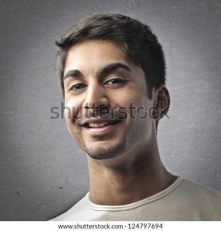 Portrait of a mulatto man - stock photo