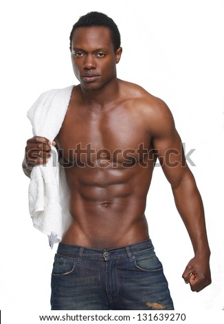 Portrait of a muscular african american man with no shirt - stock photo