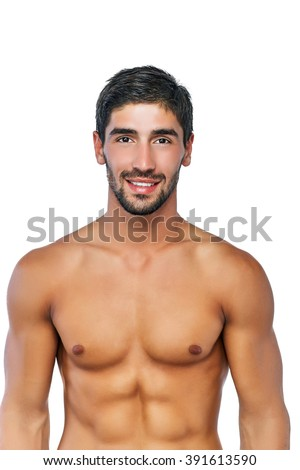 Portrait of a muscular and handsome Latino men confidently looking at the camera and smiling. Isolated on write background. - stock photo