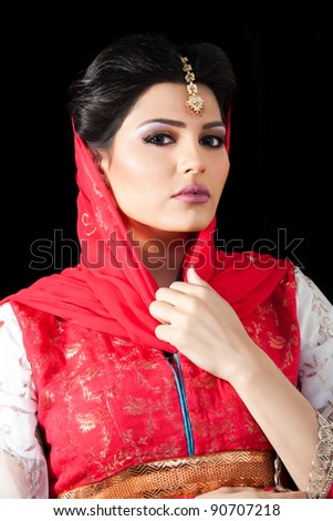portrait of a muslim bride - stock photo