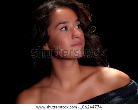 Portrait of a native american woman - stock photo