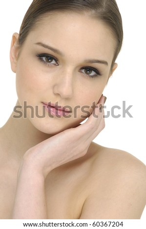 portrait of a natural beauty-close up - stock photo