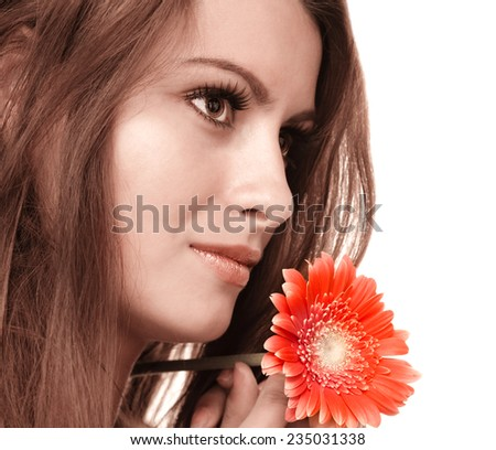 Portrait of a natural beauty on a white background - stock photo