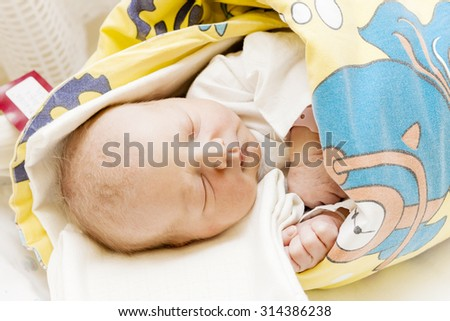 portrait of a newborn baby girl in maternal hospital - stock photo